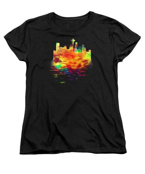 Seattle Skyline, Orange Tones On Black Women's T-Shirt (Standard Cut) by Pamela Saville