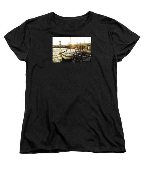 Seine River With Barges And Boats, Pont De Alexandre Bridge Behind, Paris France. Women's T-Shirt (Standard Cut) by Perry Van Munster