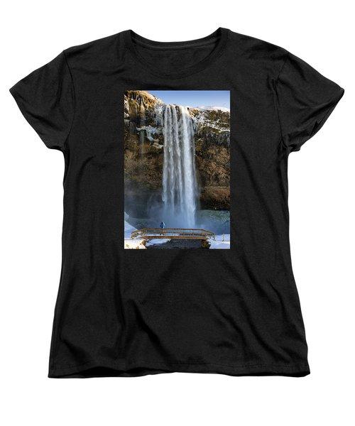 Women's T-Shirt (Standard Cut) featuring the photograph Seljalandsfoss Waterfall Iceland Europe by Matthias Hauser
