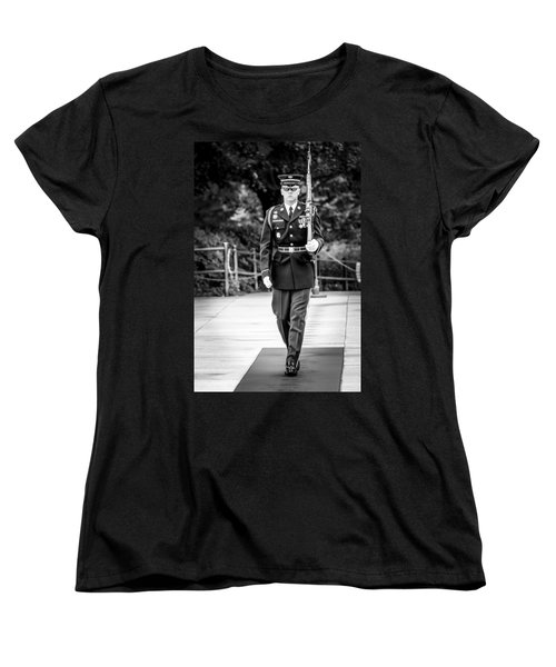 Women's T-Shirt (Standard Cut) featuring the photograph Sentinel At The Tomb Of The Unknowns by David Morefield