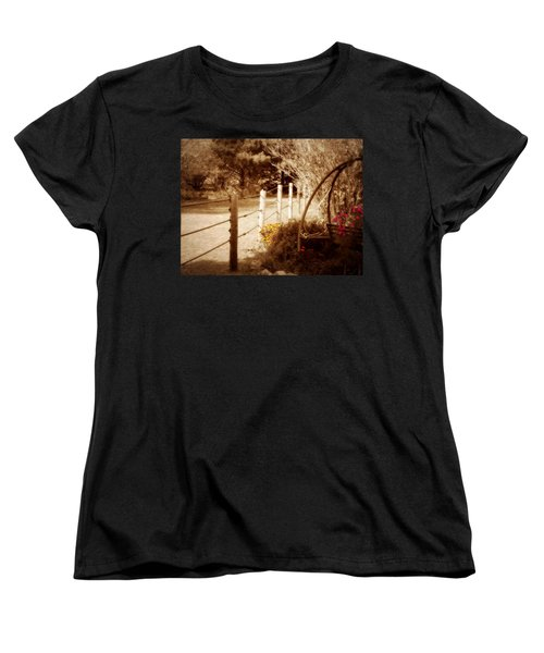 Sepia Garden Women's T-Shirt (Standard Cut) by Julie Hamilton