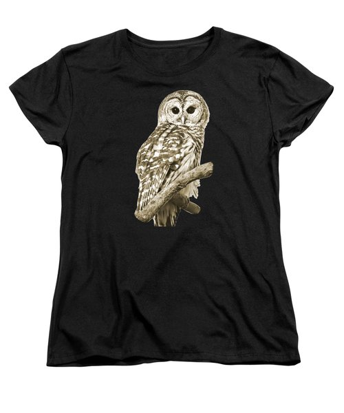 Sepia Owl Women's T-Shirt (Standard Cut) by Christina Rollo