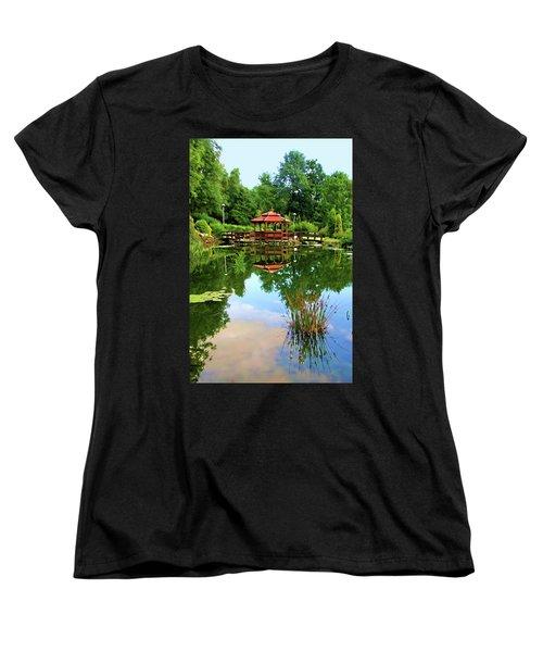 Serene Garden Women's T-Shirt (Standard Cut) by Mariola Bitner