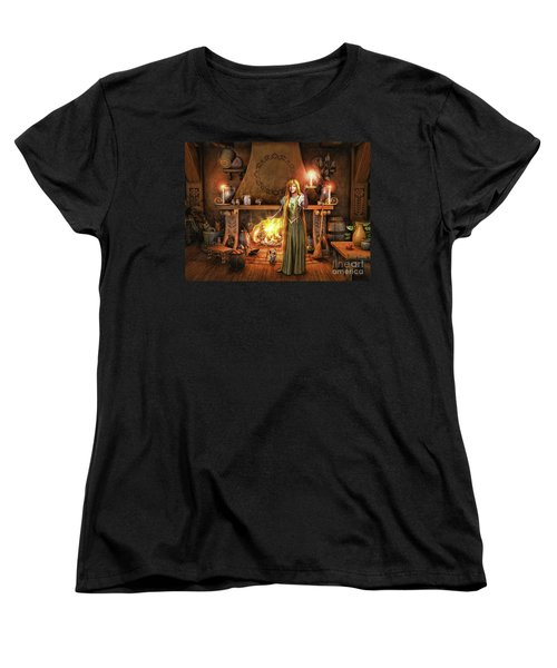Women's T-Shirt (Standard Cut) featuring the painting Share My Fire And Candle Light by Dave Luebbert