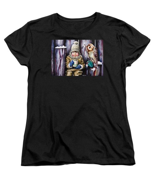 Women's T-Shirt (Standard Cut) featuring the painting Sharing A Hot Chocolate by Geni Gorani