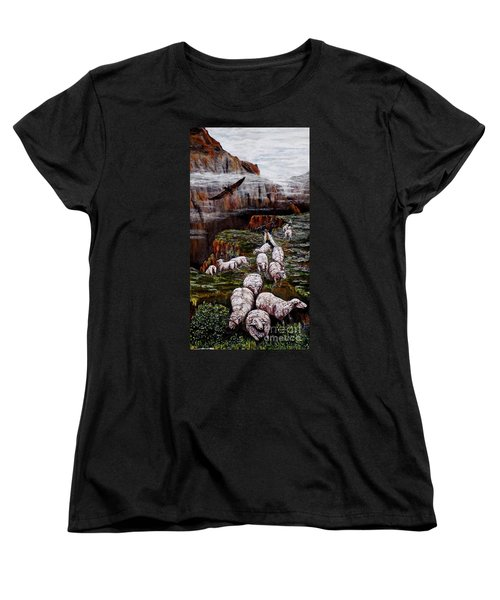 Women's T-Shirt (Standard Cut) featuring the painting Sheep In The Mountains  by Judy Kirouac