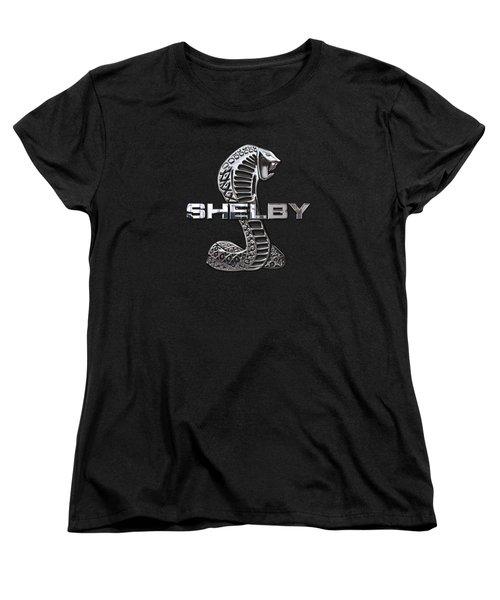 Shelby Cobra - 3d Badge On Black Women's T-Shirt (Standard Cut) by Serge Averbukh