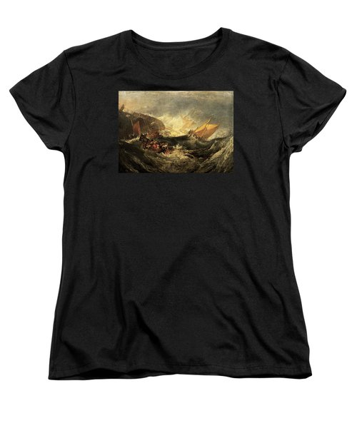 Women's T-Shirt (Standard Cut) featuring the painting Shipwreck Of The Minotaur by J M William Turner