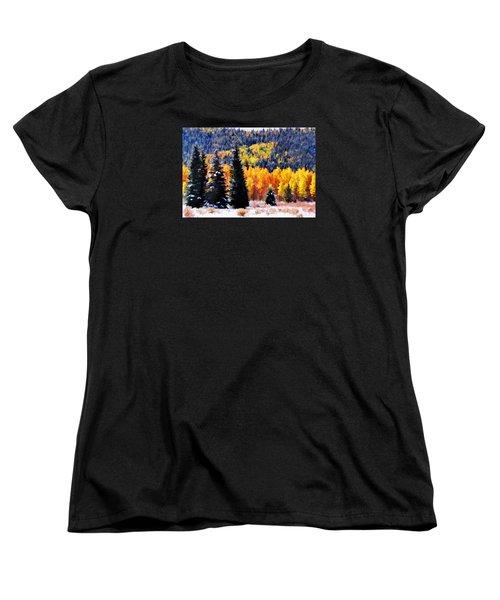 Shivering Pines In Autumn Women's T-Shirt (Standard Cut) by Diane Alexander