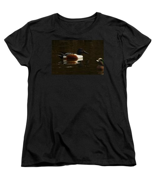 Women's T-Shirt (Standard Cut) featuring the photograph Shovel Tail And A Wigeon by Jeff Swan