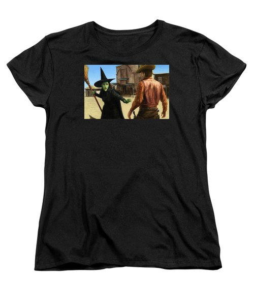 Women's T-Shirt (Standard Cut) featuring the painting Showdown by James W Johnson