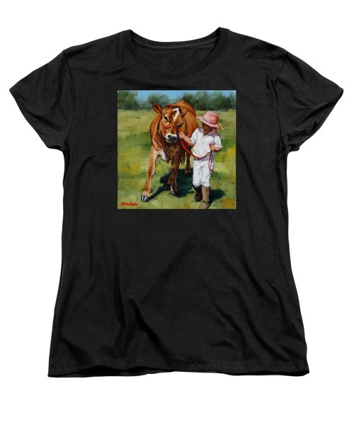 Women's T-Shirt (Standard Cut) featuring the painting Showgirls by Margaret Stockdale