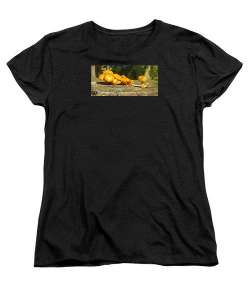 Women's T-Shirt (Standard Cut) featuring the photograph Shrooms On A Stump by Spyder Webb