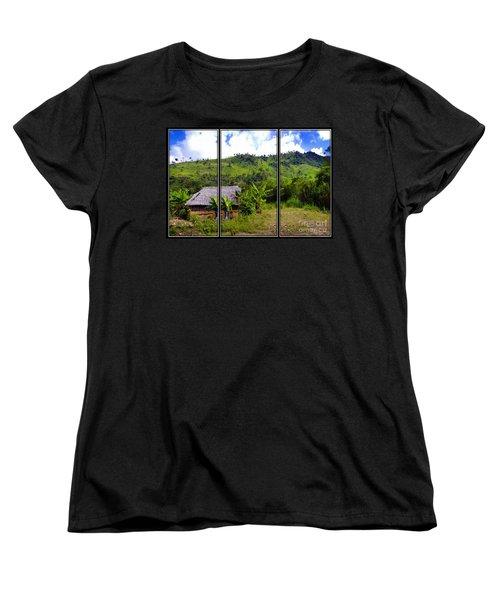 Women's T-Shirt (Standard Cut) featuring the photograph Shuar Hut In The Amazon by Al Bourassa