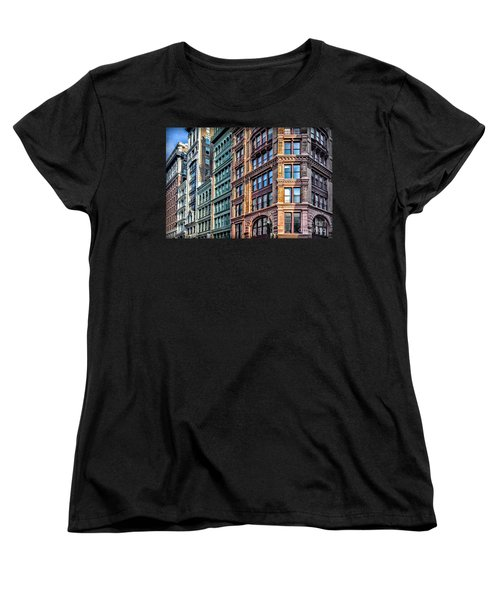 Women's T-Shirt (Standard Cut) featuring the photograph Sights In New York City - Colorful Buildings by Walt Foegelle