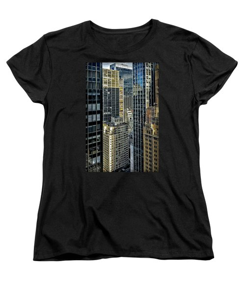 Women's T-Shirt (Standard Cut) featuring the photograph Sights In New York City - Skyscrapers Shot From Skyscraper by Walt Foegelle
