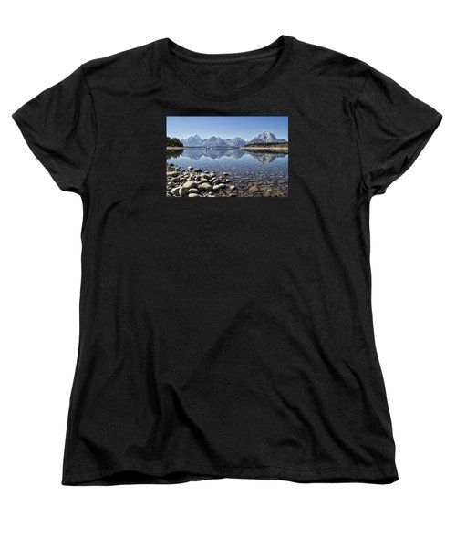 Women's T-Shirt (Standard Cut) featuring the photograph Jackson Lake  Near Signal Mountain Lodge by Shirley Mitchell