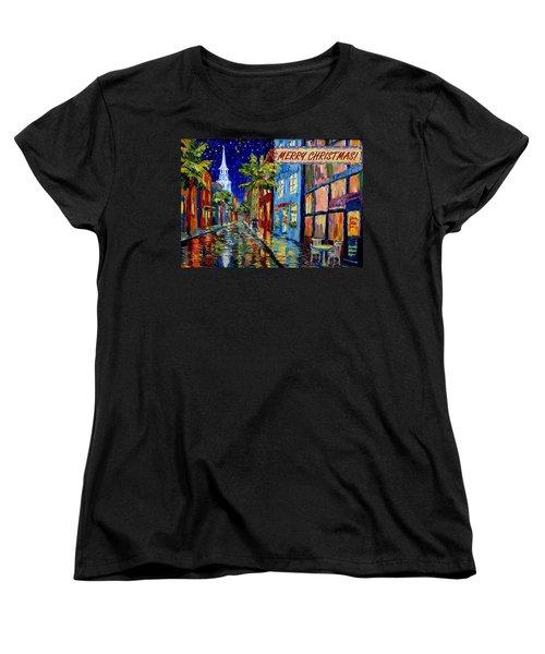 Silent Night Christmas Card Women's T-Shirt (Standard Cut) by Dorothy Allston Rogers