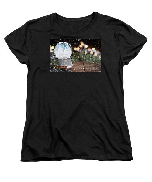 Silver Snow Globe With White Christmas Trees Women's T-Shirt (Standard Cut)