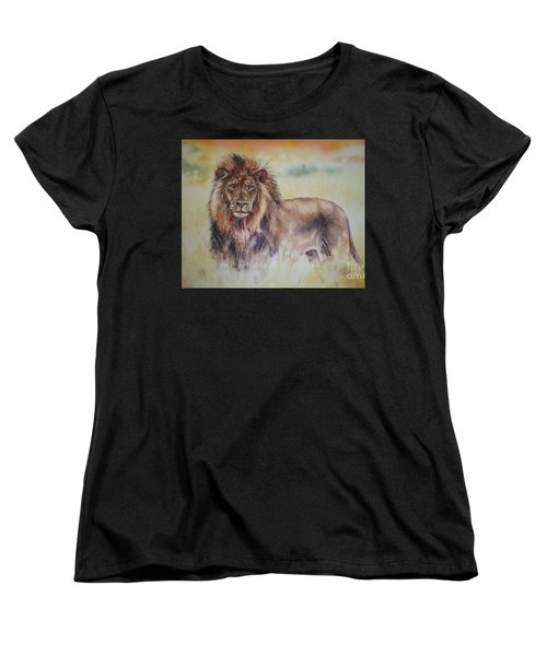 Women's T-Shirt (Standard Cut) featuring the painting Simba by Sandra Phryce-Jones