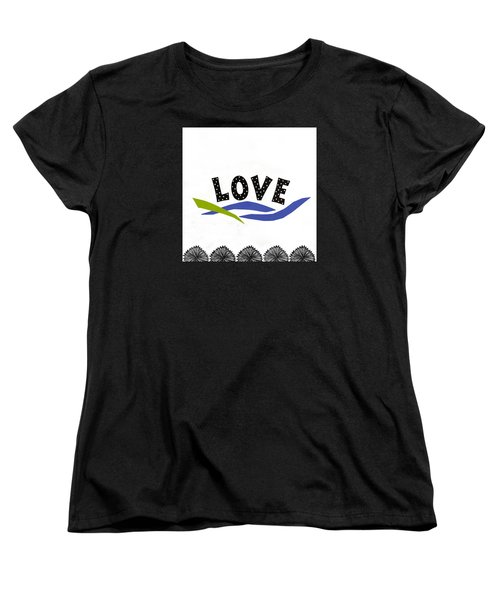 Women's T-Shirt (Standard Cut) featuring the mixed media Simply Love by Gloria Rothrock