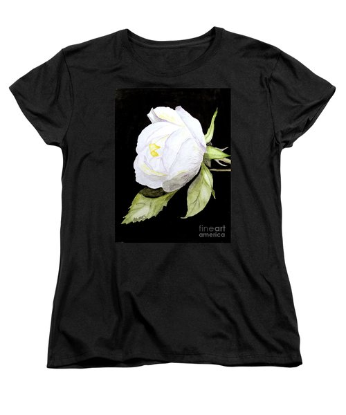 Women's T-Shirt (Standard Cut) featuring the painting Single White  Bloom  by Carol Grimes