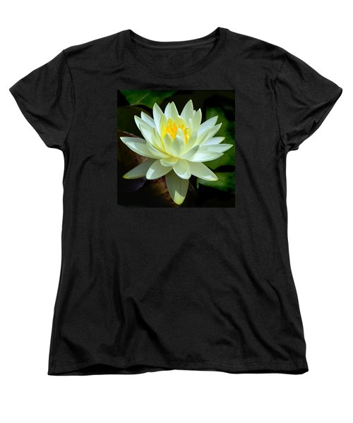 Women's T-Shirt (Standard Cut) featuring the photograph Single Yellow Water Lily by Kathleen Stephens