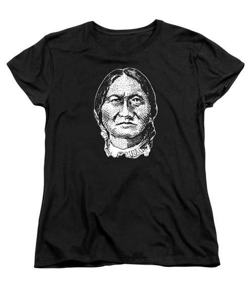 Sitting Bull Graphic - Black And White Women's T-Shirt (Standard Cut) by War Is Hell Store