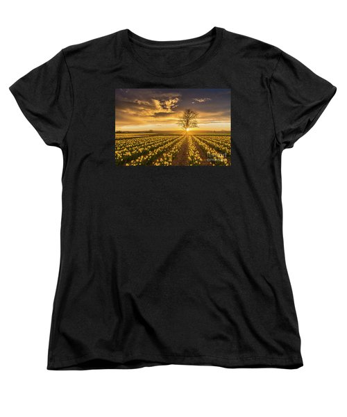 Women's T-Shirt (Standard Cut) featuring the photograph Skagit Valley Daffodils Sunset by Mike Reid