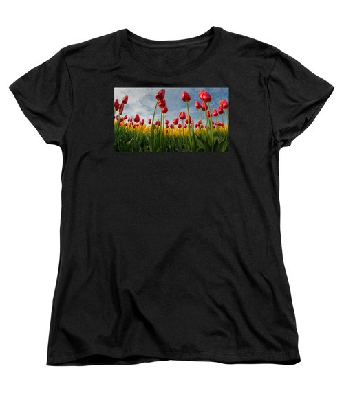 Women's T-Shirt (Standard Cut) featuring the photograph Skagit Valley Spring Joy by Dan Mihai