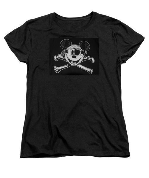 Skull And Bones Mickey  Women's T-Shirt (Standard Cut)