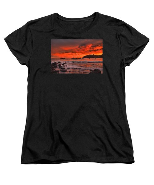 Women's T-Shirt (Standard Cut) featuring the photograph Sky On Fire by Jim Walls PhotoArtist