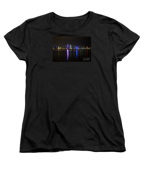 Skyline Of Doha, Qatar At Night Women's T-Shirt (Standard Cut) by IPics Photography