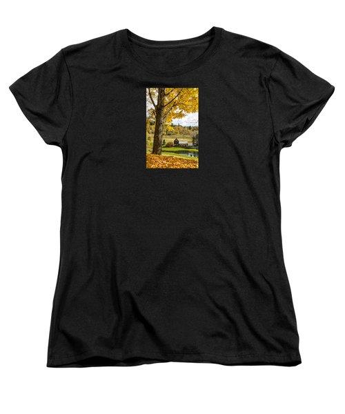 Women's T-Shirt (Standard Cut) featuring the photograph Sleep Hollow Farm Woodstock Vt by Betty Denise
