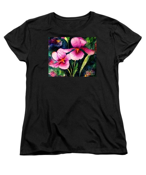 Smiling Iris Faces  Women's T-Shirt (Standard Cut) by Hazel Holland