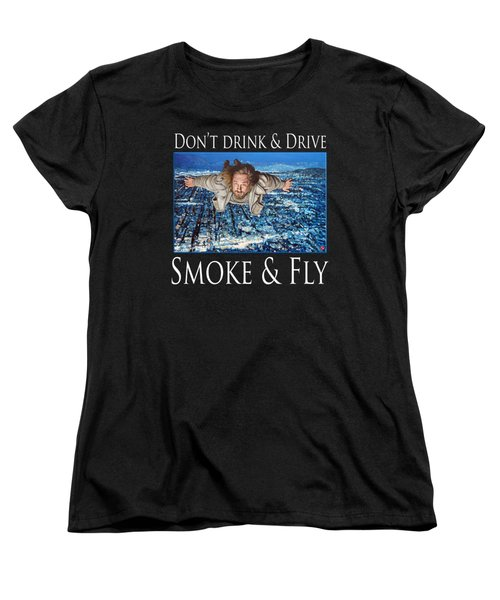 Women's T-Shirt (Standard Cut) featuring the painting Smoke And Fly by Tom Roderick
