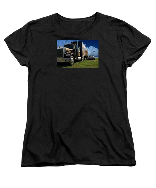 Smokey And The Bandit Tribute 1973 Kenworth W900 Black And Gold Semi Truck And The Bandit Transam Women's T-Shirt (Standard Cut) by Tim McCullough