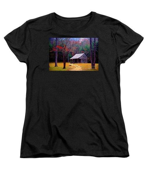 Smoky Mtn. Cabin Women's T-Shirt (Standard Cut) by Paul W Faust -  Impressions of Light