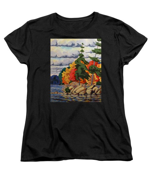 Snake Island In Fall-close Women's T-Shirt (Standard Cut) by David Gilmore