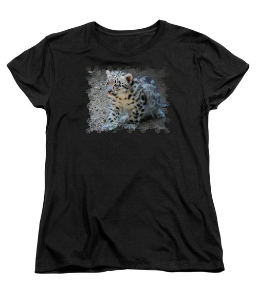 Snow Leopard Cub Paws Border Women's T-Shirt (Standard Cut) by Terry DeLuco
