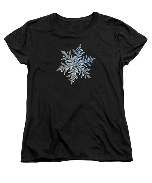 Women's T-Shirt (Standard Cut) featuring the photograph Snowflake Photo - Silverware by Alexey Kljatov
