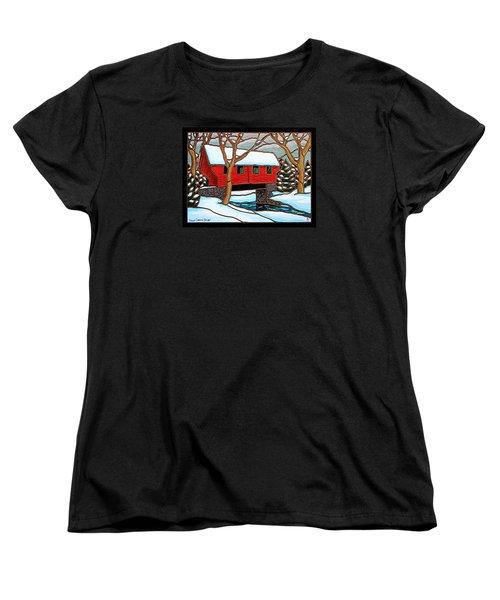 Snowy Covered Bridge Women's T-Shirt (Standard Cut) by Jim Harris
