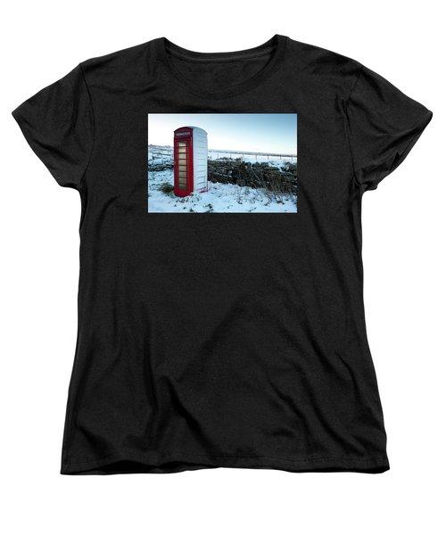 Snowy Telephone Box Women's T-Shirt (Standard Cut) by Helen Northcott