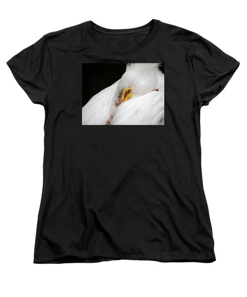 Snuggled White Pelican Women's T-Shirt (Standard Cut) by Penny Lisowski