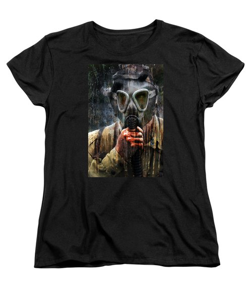 Soldier In World War 2 Gas Mask Women's T-Shirt (Standard Cut) by Jill Battaglia