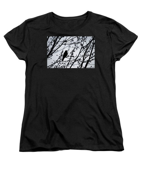 Women's T-Shirt (Standard Cut) featuring the photograph Song Bird Silhouette by Terry DeLuco