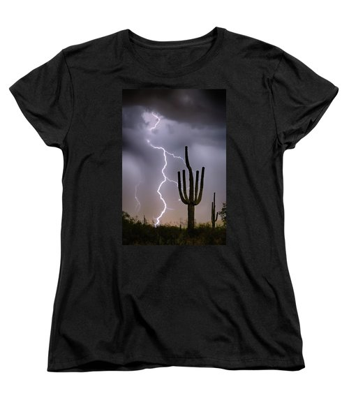 Women's T-Shirt (Standard Cut) featuring the photograph Sonoran Desert Monsoon Storming by James BO Insogna