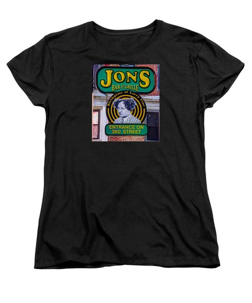 South Philly Skyline - Birthplace Of Larry Fine Near Jon's Bar And Grille-a - Third And South Street Women's T-Shirt (Standard Cut) by Michael Mazaika