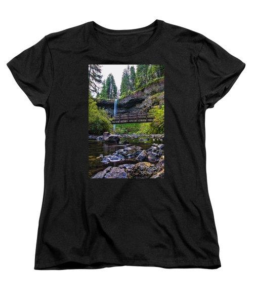 South Silver Falls With Bridge Women's T-Shirt (Standard Cut) by Darcy Michaelchuk