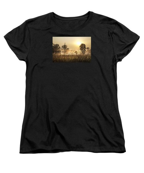 Southern Michigan Foggy Morning  Women's T-Shirt (Standard Cut) by John McGraw